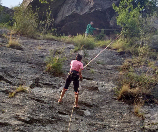Churwadhar Camping Rajgarh Himachal Pradesh Happy Guest During Rappeling Activities